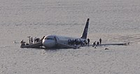 US Airways Flight 1549 after landing on the waters of the Hudson River in January 2009