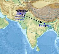 According to Arrian, Megasthenes lived in Arachosia and travelled to Pataliputra as ambassador of Seleucus to the Indian ruler Chandragupta Maurya.