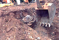 One of the engines unearthed