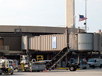 A U.S. flag flies over Gate 17 of Terminal A at Newark Liberty International Airport, departure gate of United93.