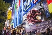 Visitors enjoy illuminated billboards, video screens and mechanized signs along the boardwalk near the Glico Man sign