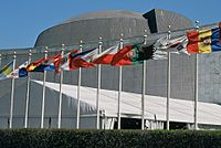 Flags of member nations at the United Nations Headquarters, seen in 2007