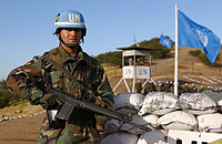 """Bolivian """"Blue Helmet"""" at an exercise in Chile, 2002"""