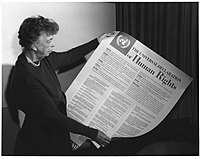 Eleanor Roosevelt with the Universal Declaration of Human Rights, 1949
