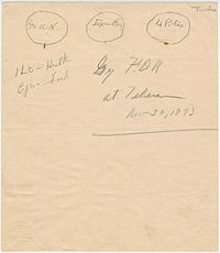 1943 sketch by Franklin Roosevelt of the UN original three branches: The Four Policemen, an executive branch, and an international assembly of forty UN member states