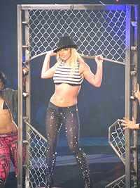 """Spears performing """"Toxic"""" during the Electro Circ segment of the show in Boston."""