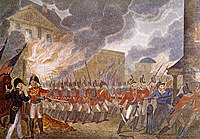 Following their victory at the Battle of Bladensburg, the British entered Washington, D.C., burning down buildings, including the White House.