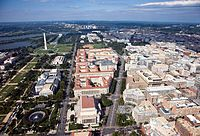 Federal Triangle, between Constitution Avenue and Pennsylvania Avenue. The U.S. federal government accounts for about 29% of D.C. jobs.