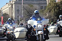 D.C. police on Harley-Davidson motorcycles escort a protest in 2018.