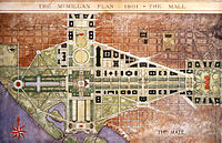 The National Mall was the centerpiece of the 1901 McMillan Plan. A central open vista traversed the length of the Mall.