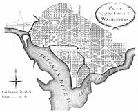 """Library of Congress Andrew Ellicott's 1792 revision of L'Enfant's 1791 plan for the """"Federal City"""", later Washington City, District of Columbia (Thackara & Vallance, 1792)."""