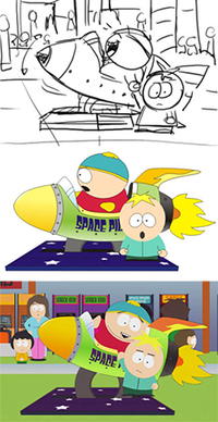 """The various stages of production (from top to bottom): the storyboard sketch, the CorelDRAW props with stock character models, and a frame from the fully rendered episode, """"Super Fun Time"""""""