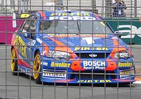 Ambrose in his Stone Brothers Racing Ford Falcon BA on the Surfers Paradise Street Circuit in October 2005