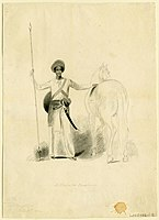 A Mahratta horseman - original pencil sketch by the artist H. Hall; standing figure in military costume with spear, left hand resting on horse