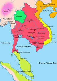 Map of South-east Asia c. 900 CE, showing the Khmer Empire in red, Champa in yellow and Haripunjaya in light Green plus additional surrounding states.