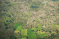 An aerial view of bomb craters in Cambodia (2014)