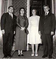 Norodom Sihanouk and his wife with Nicolae Ceauşescu and his wife Elena Ceauşescu, 1974