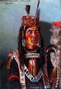 Chief Yellow Hammer painted in traditional clothing by E.A Burbank, 1901.