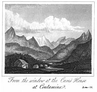 View from Contamines-Montjoie. From A Tour to Great St Bernards and round Mont Blanc, W.Rose. 1827 (written for young people aged 10 to 14)