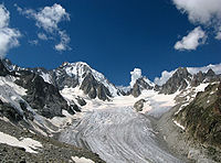 Saleina glacier and the Aiguille d'Argentière on the Swiss side