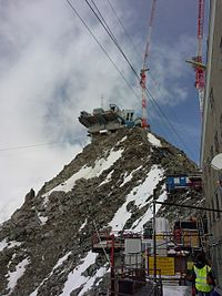 Construction work on the new Skyway Monte Bianco, 2014