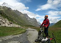 Val Veny, near Col de la Seigne, Italy. Route of the Tour du Mont Blanc, parts of which are accessible by mountain bike.