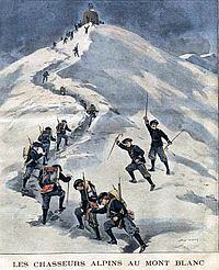 French alpine troops (Chasseurs Alpins) ascend to the summit of Mont Blanc. Illustration from Le Petit Journal, 1901.