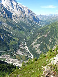 View over La Palud and eastwards along Val Ferret, Italy