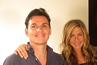 Aniston and writer-director Andrés Useche after filming their ocean wildlife preservation project