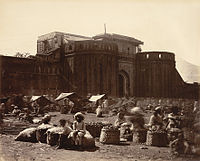 The imposing walls of the Shaniwar Wada, in an 1860 photograph