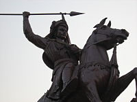 An equestrian statue of Bajirao I in the Shaniwarwada complex. Bajirao I, the Peshwa of the Maratha Empire, was the first resident of the fort as a Peshwa.