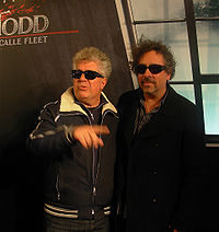 Almodóvar (left) and Tim Burton (right) at the première of Sweeney Todd: The Demon Barber of Fleet Street in Madrid, in 2007
