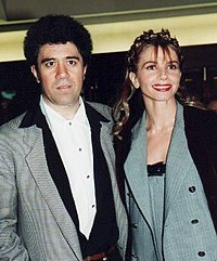 Almodóvar with Victoria Abril, star of High Heels, at the 1993 César Awards in Paris
