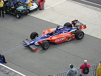 Lazier's car in Gasoline Alley during practice for the 2006 Indianapolis 500