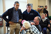 President Barack Obama and Governor Chris Christie talk with local residents in Brigantine, New Jersey