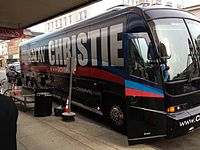 Christie's campaign bus pulls out front of Stainton Square in Ocean City, New Jersey.