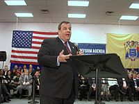 Christie at a town hall meeting in Union City, New Jersey, on February 9, 2011