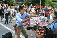 Prime Minister Justin Trudeau at the 2015 Vancouver Pride parade, shortly after launching his election campaign.