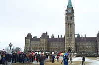 """""""March of Hearts"""" rally for same-sex marriage in Canada on Parliament Hill in Ottawa, March 6, 2004."""