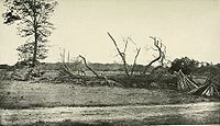 Makeshift Confederate breastworks at the extreme left of their line