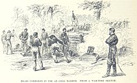 Union Coehorn mortars in action, drawn by Alfred Waud