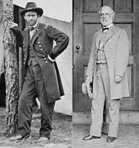 Opposing commanders: Lt. Gen. Ulysses S. Grant, USA, at Cold Harbor, photographed by Edgar Guy Fawx in 1864; Gen. Robert E. Lee, CSA, photographed by Mathew Brady in 1865