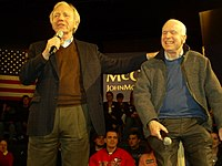 Lieberman with Presidential Candidate John McCain at an event in Derry, New Hampshire