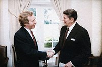 Lieberman with President Ronald Reagan in 1984