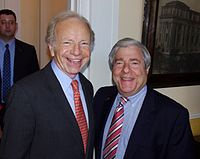 Lieberman with Marty Markowitz at the 2011 Brooklyn Book Festival to discuss the role spirituality played in his life.