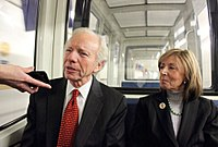Senator Lieberman and his wife Hadassah on their way to the U.S. Capitol in 2011