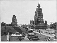 The Mahabodhi temple as it appeared in 1899, shortly after its restoration in the 1880s