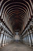 The Great Chaitya in the Karla Caves, Maharashtra. The structure dates back to 2nd century BC