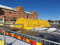 Medical tent set up outside Visby Hospital, 14 March 2020.