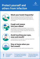 In response to COVID-19, the Public Health Agency of Sweden issued a series of infographics in different languages describing how to protect oneself and others from infection.